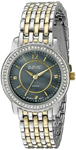 August Steiner Women's AS8027TTGB Diamond & Crystal Accented Gray Mother of Pearl Two Tone Bracelet Watch