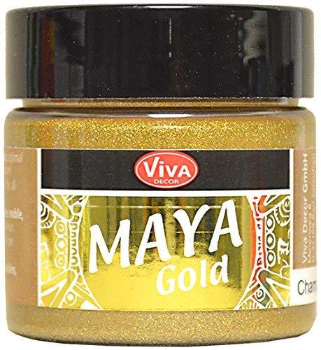 Viva Decor®️ Maya Gold (Champagner, 45 ml) Acrylfarbe mit Metallic Effekt - Malfarbe - Acryl Farben für Holz, Pappe, Beton, Papier, Leinwand UVM. - Made in Germany