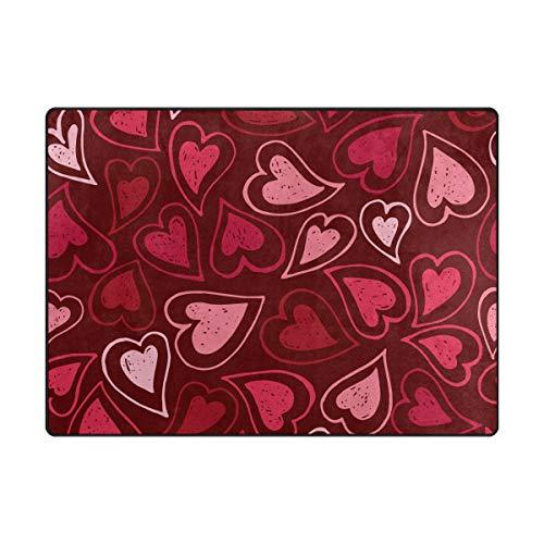 AHOMY Teppich 150 x 200 cm, rutschfest, modernes rosa und rotes Herzmotiv für Wohnzimmer/Baby/Haustierzimmer/Schlafzimmer/Esszimmer/Küche, Textil, Multi, 120x160 cm(5'x4' ft) -