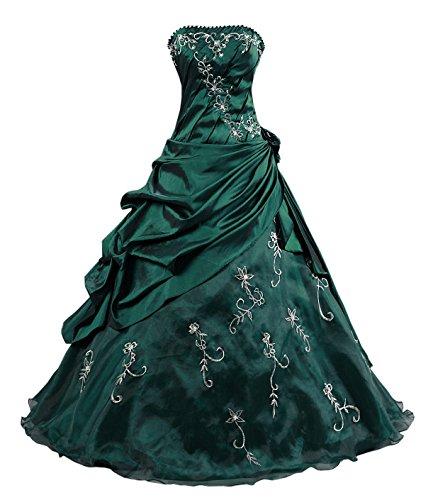 Kmformals Damen Ballkleid trägerlosen Prom Kleider Abendkleidung Größe 48 Smaragd Grün