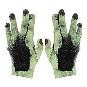 Mains poilues monstre gants géants loup-garou latex serre monstre griffe Frankenstein patte bête féroce accessoire déguisement Halloween