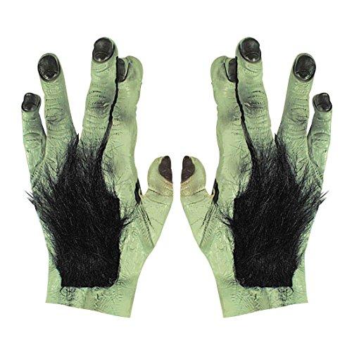 NET TOYS Behaarte Monster Hände Riesen Werwolf Handschuhe Latex Bestie Kralle Frankenstein Klaue Bestie Pranke Halloween Kostüm Zubehör