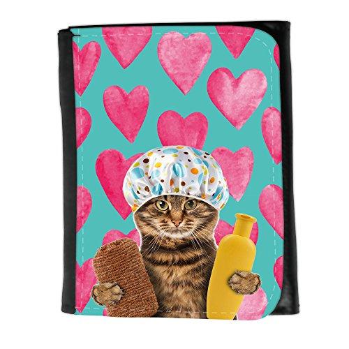 Muster Size Damen Clutch Geldbörse // Q05610690 Badende Katze Valentine // Small Size Wallet -