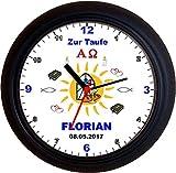 Lucky Clocks Sonne Blaue Schrift Taufe Geburt Wanduhren für Jeden Anlass mit jeder Beschriftung und Jedem Vornamen Namen erhältlich