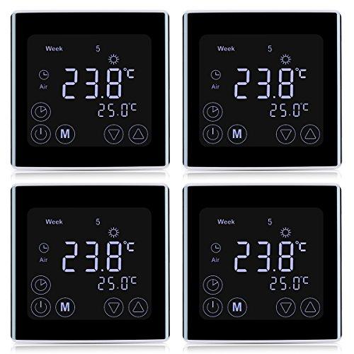 4x Floureon Raumthermostat BYC17.GH3 Thermostat LCD Touchscreen Mit weißer Hintergrundbeleuchtung Wandthermostat Digital Smart Programmierbares Heizkörper-Thermostat Fußbodenheizung Wasserheizung