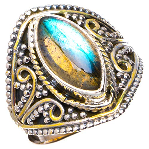 925er Sterling Silber Labradorite Einzigartig Handgefertigt Ringe 18 1/2 Blue B1154
