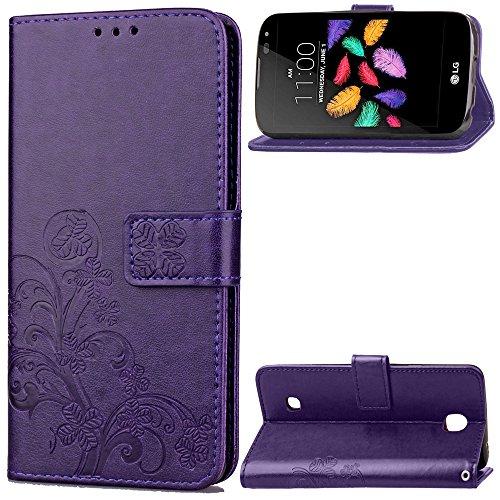 Qiaogle Teléfono Case - Funda de PU Cuero Billetera Clamshell Carcasa Cover para Lenovo K3 Note / K50-t5 4G LTE / A7000 (5.5 Pulgadas) - SD05 / Púrpura Lucky Clover
