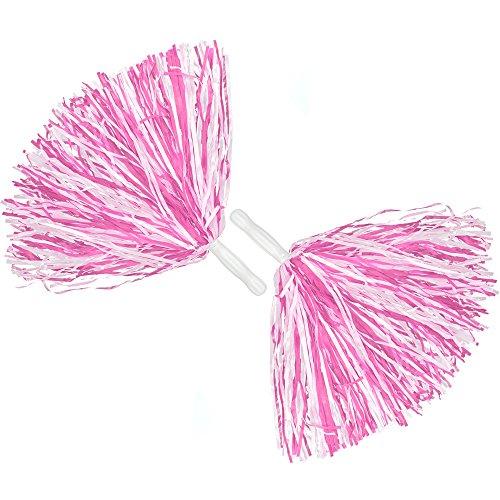 COM-FOUR® 2x Cheerleader PomPom in rosa, 35 cm (02 Stück – rosa)