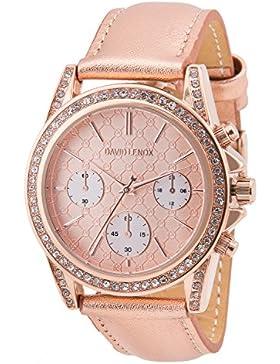 David Lenox Rose Gold Damen Uhr mit Rose Gold Lederband Michael Kors Stil dl0222