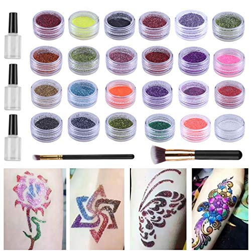 Kapmore Kit De Tatuaje Con Brillo Pintura De La Cara De 24 Colores Tatuajes Temporales Maquillaje Brillo Corporal