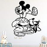 Creativo Ratón de Dibujos Animados Etiqueta de La Pared Para Niños Accesorios de Dormitorio Tatuajes de Pared de Vinilo A Prueba de agua Autoadhesiva Decoración para el hogar Po negro L 43 cm X 54 cm