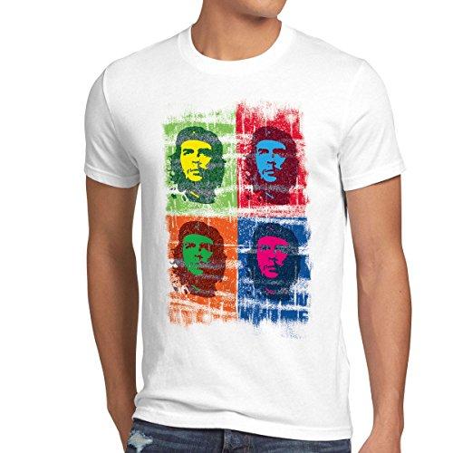 style3 Che Guevara Pop T-Shirt Herren kuba revolution, Größe:M;Farbe:Weiß -