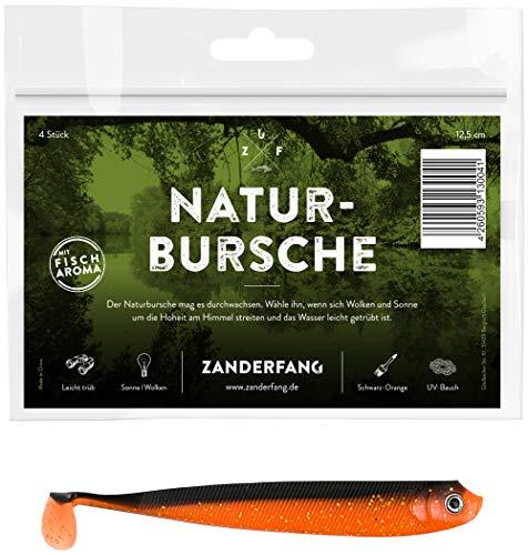 Zanderfang 4 Gummifische zum Zanderangeln mit Gummifisch Naturbursche   schwarz-orange   12,5 cm