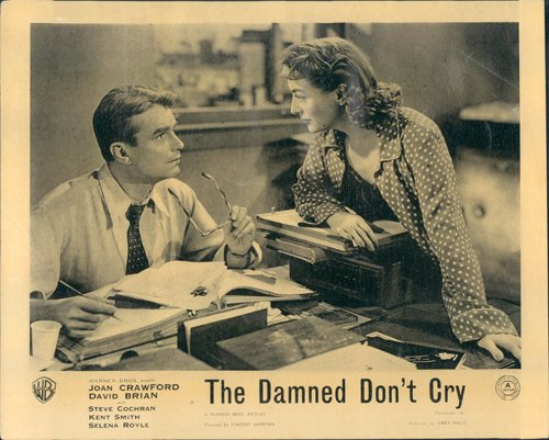 Damned Don 't Cry Joan Crawford David Brian Original Lobby Card 1950bei Schreibtisch