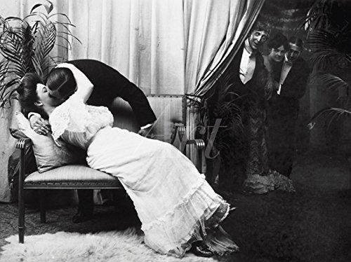 elbstklebend aus Vliesstoff oder Vinyl-Folie Filmszene Küssen, um 1900 Film & TV Stars Fotografie Schwarz/Weiß C2PK (Küssen Fotos)