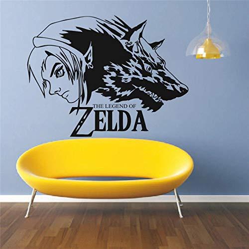 ende von Zelda Games Wandaufkleber Wolf Link Vinyl Wandtattoo Spielzimmer Dekoration Spiele Zelda Pattern Wall Poster 42x32cm ()