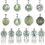 10 Stück Boho Stil Traumfänger Halskette für Frauen baumelnde Federn Charms ätherisches Öl Diffusor Halskette Perle Käfig Anhänger für Schmuckherstellung