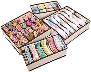 DEALCROX Bamboo Storage Box/Drawer Organizer for Innerwear, Underwear, Bra, Socks, Tie, (Multicolour, g-4pic-organiser-2) - Set of 4