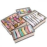 #4: ASkyl Set of 4 Foldable Storage Box Type Non-Smell Drawer Organizer Closet Storage for Socks Bra Tie Scarfs