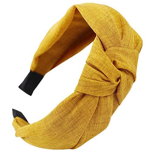 Dorical Haarband Yoga Headband Hairband Damen Stoff Haarreif mit Schleife-Vintage-Wunderschön Stirnband,Haarschmuck Haarreif mit Schleife-Vintage-Wunderschön Stirnband (One Size, Z006-Gelb)