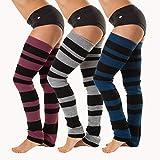 Ballettstulpen Stulpen mit modernen Blockstreifen - ca. 90cm lang - Beinwärmer dunkelblau/schwarz