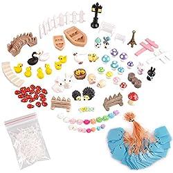 eZAKKA Kit de Mini Juguetes Accesorios Decorativos en miniatura para jardín con muñecos de hadas, vallas, lámparas, patos y mucho más un total de 86 piezas