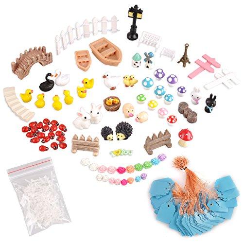 eZAKKA Miniatur-Deko-Set mit Aufbewahrungsbox für Feengarten, Pflanzen-Deko, 86-teilig (Fairy Garden Kreativität Für Kinder)