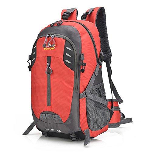 Rucksack Portable Bergsteiger Backpack Oxford Multifunktion Erholung leichtes Rucksack Klettern unterwegs Wandern Reiten Business Studenten Sport Schulter Tasche 5 Farben H52 x W30 x T17 cm Red