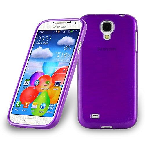Cadorabo Hülle für Samsung Galaxy S4 - Hülle in LILA – Handyhülle aus TPU Silikon in gebürsteter Edelstahloptik (Brushed) Silikonhülle Schutzhülle Soft Back Cover Case Bumper