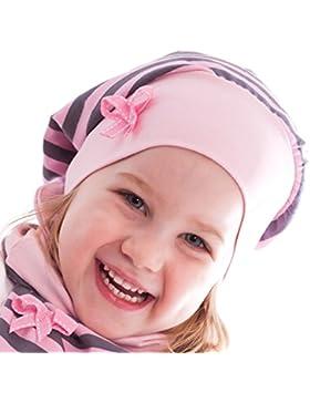 Gorro estilo beanie para niña, a rayas rosas y grises. Gorrito de ajuste perfecto, para primavera y otoño. Fabricado...