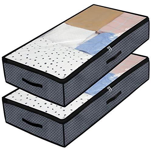 homyfort Set di 2 Pieghevole organizzatore Armadio, scatole Armadio in Tessuto, Contenitore per armadi,Sacchetto di Vestiti per la memorizzazione di Piumini Coperte 100x50x18cm, Grigio Scuro, X3GR100L
