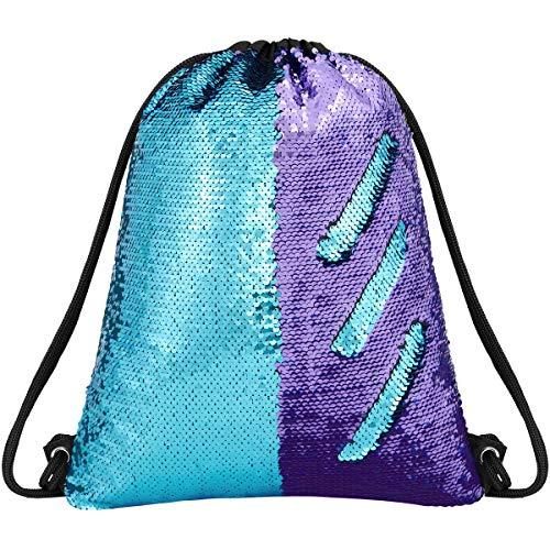 Deeplive Fashion, zainetto stile sirena, con chiusura a coulisse, reversibile, con paillettes, ideale per danza, scuola e sport all'aperto, per ragazze, donne e bambine, BluePurple