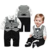 Bebé Pelele de moda caballero manga larga Niños Ropa babysuits chaleco de una pieza trajes para bebé gris Talla:0-6 meses