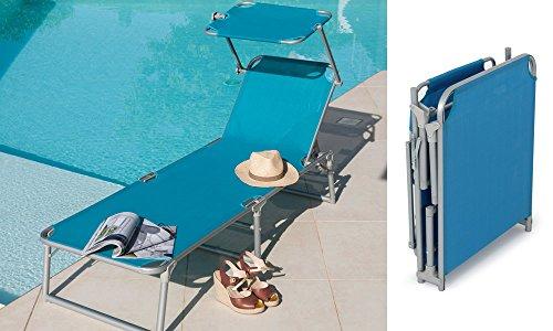 Bain de soleil aluminium bleu + pare-soleil