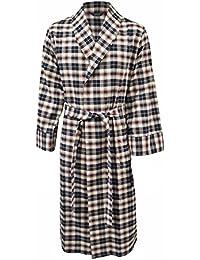 Lloyd Attree & Smith - robe de chambre légère 100% coton brossé - carreaux noir / bordeaux / vert - homme