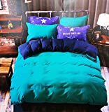 #2: The Home Talk Reversible Duvet/AC Comforter with Bedsheet Pillow Cover Set, Contrasting Colors, Designer Bedsheet, Solid Comforter- Blue Pillow and Bedsheet/Green and Blue Reversible Duvet