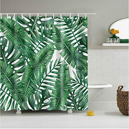 (Mode Wasserdichte 3D Bad Duschvorhänge Set Blätter Scenic Form-Proof Polyester Bad Bildschirme Mit 12 Stücke Haken (W) 180x(H) 180cm)