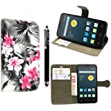 Funda para Alcatel One Touch Pop D5 5038D , Kamal Star® Funda Cuero PU Billetera Folio Carcasa, [Stylus Libre] Piel Case Cover con Soporte Plegable para Alcatel One Touch Pop D5 5038D (Pink Flower Dark Grey Book)
