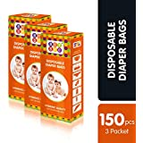 Bey Bee Baby Diaper Disposable Bags, 50 Bags (Pack of 3)