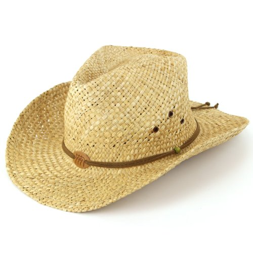 Straw cowboy hat with leather band detail and three horses badge. Natural Test