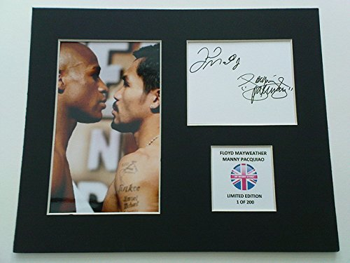 LIMITED EDITION FLOYD MAYWEATHER AND PACQUIAO SIGNED DISPLAY PRINTED AUTOGRAPH BOXING AUTOGRAPH AUTOGRAF AUTOGRAM SIGNIERT SIGNATURE MOUNT FRAME