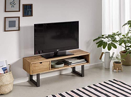 Mesa televisión, Mueble TV salón diseño Industrial-Vintage, cajón y Estante, Madera Maciza Natural, Patas Metálicas. Medidas; 100 cm x 40 cm x 30 cm...