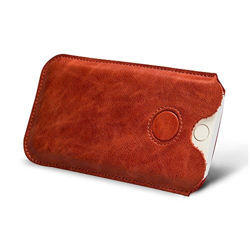 Jisoncase VINTAGE Ledertasche iPhone 6 Plus/ 6S Plus Hülle Tasche Case in klassische Farbe aus hochwertigem Leder braun JS-I6L-11A20 Rot