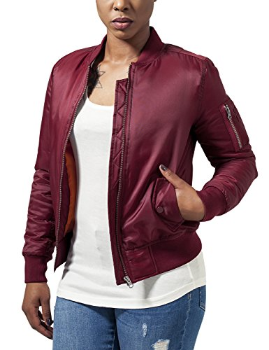 Urban Classics Damen Jacke Ladies Basic Bomber Jacket, Rot (Burgundy 606), 42 (Herstellergröße: XL)