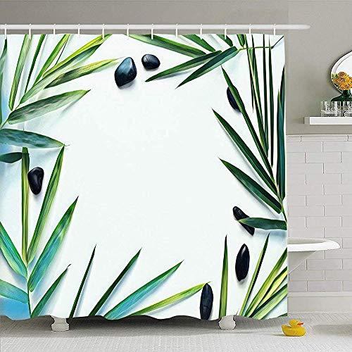 May--Temple-Shower curtain Duschvorhang für Badezimmer-Platz-grüne Bambuspalme Flacher Blatt-Kiesel auf leerem abstraktem Badekurort-Gelb-Asien-asiatischem Strand zentrierte klares wasserdichtes