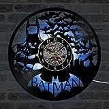 Batman CD Wanduhr LED Beleuchtung Modernen Design Uhren Kreative Antike Klassische Vinyl Record Wanduhr Home Decor