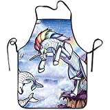 Laohujia New Robot Unicorn Bibs Chef Aprons Adjustable Personalized Commercial Professional Apron For BBQ,Cook,Crafting,Gardening