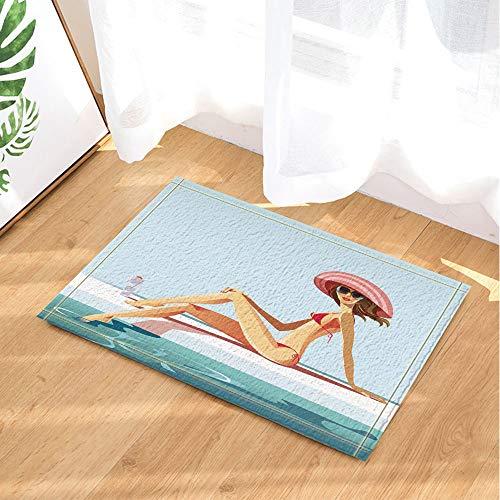 SHUHUI Blue Sea White Coast Sonnenbrille schwarzer Hut sexy Bikini-Schönheit Wasserdicht Rutschfest Keine chemischen Fußmatten