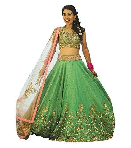 Drashti villa Women's Green color Bangalore silk Lehenga Choli (G-Green-Choli_Free Size )