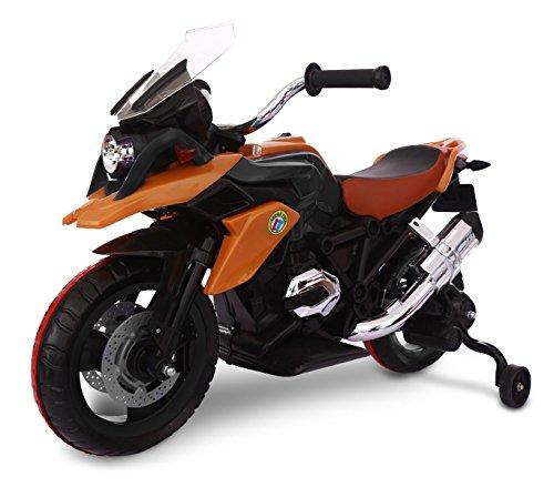 Moto da Corsa LT873 per Bambini Flower elettrica Arancione 12V con Seduta in Pelle. Media Wave Store